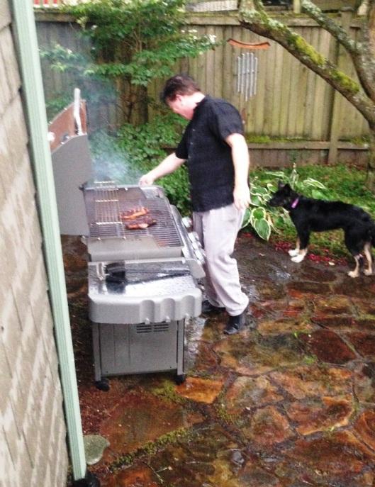 Grillin' in the rain.